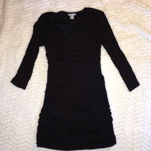 Soft Black H&M Ruched Mini Dress